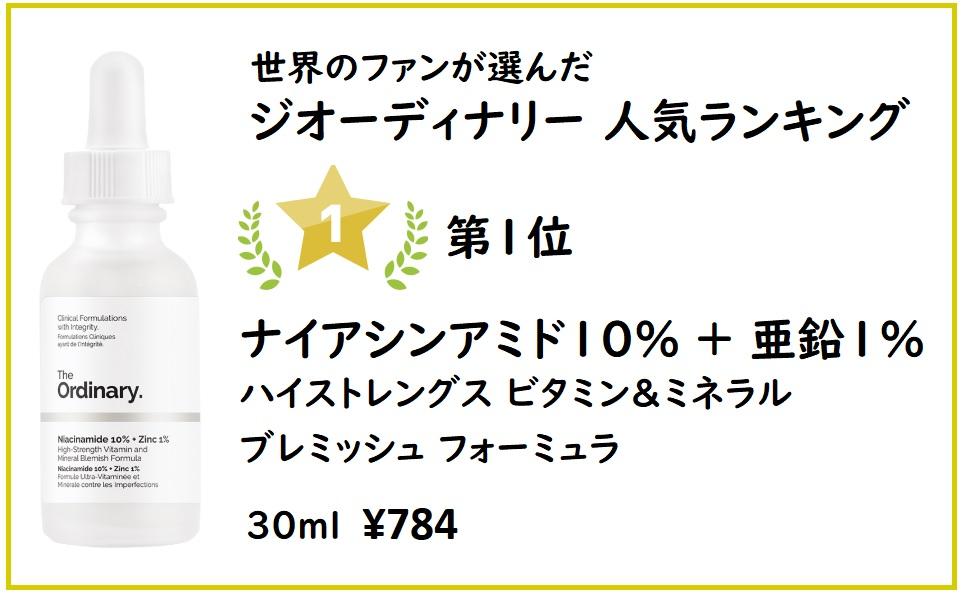 ジオーディナリー人気ランキング1位 ナイアシンアミド10%+亜鉛1%
